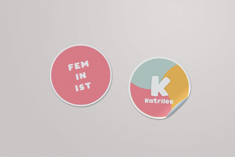 Round Sticker designs for Katrilee.